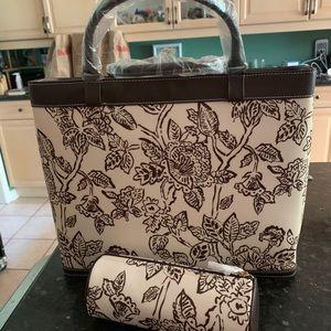 Estée Lauder tote bag with matching cosmetics case